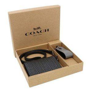 Coach Men's Boxed Lanyard Id/Card Case Wallet